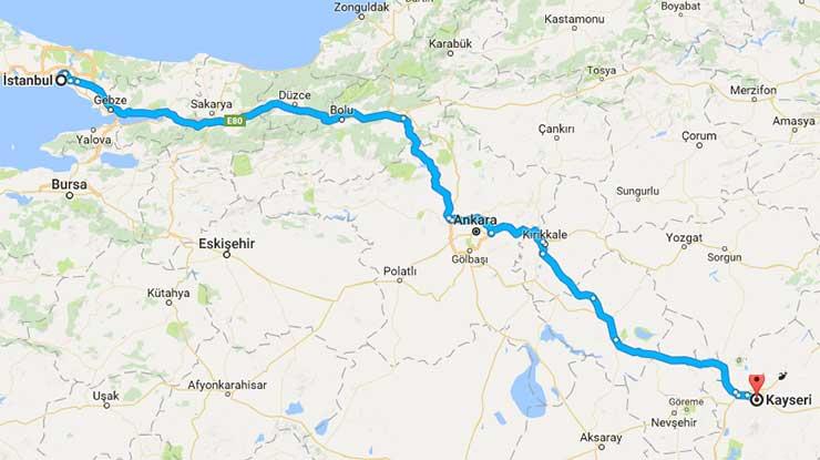 Istanbul Kayseri Arası Kaç Km Istanbul Kaç Km